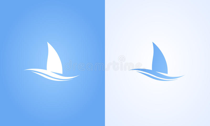 在白色和蓝色背景的风船标志 皇族释放例证