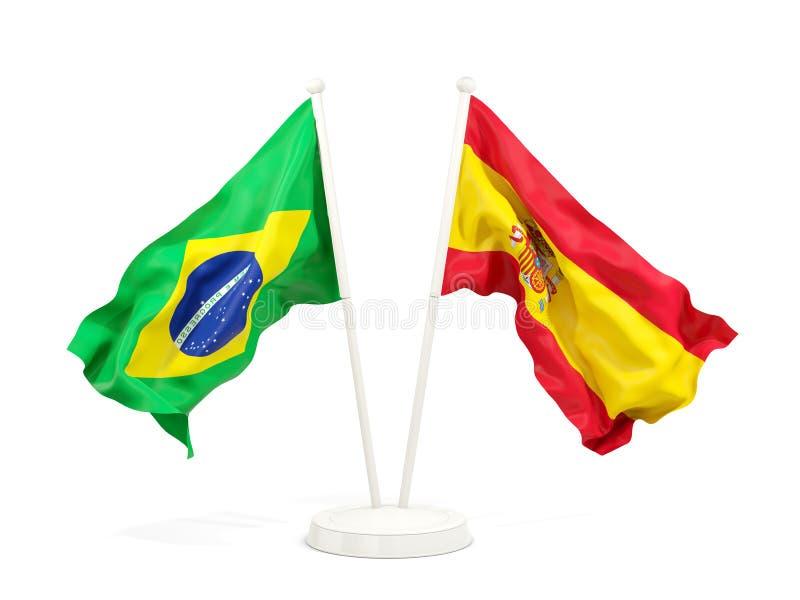 在白色和西班牙的隔绝的两面挥动的旗子巴西 向量例证