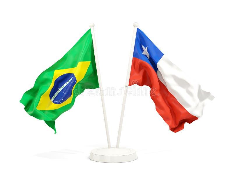 在白色和辣椒隔绝的两面挥动的旗子巴西 皇族释放例证