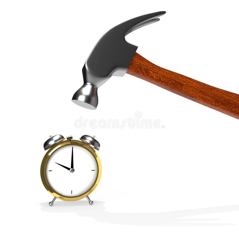 在白色和闹钟隔绝的锤子 皇族释放例证