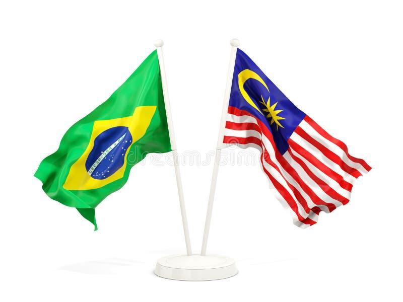 在白色和马来西亚的隔绝的两面挥动的旗子巴西 库存例证