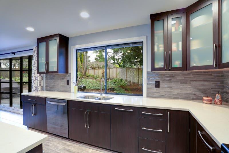 在白色和黑暗的口气的更新当代厨房室内部 免版税库存照片