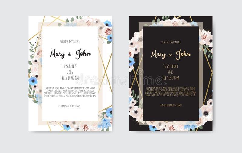 在白色和黑背景的植物的婚礼邀请卡片模板设计,白色和桃红色花 皇族释放例证