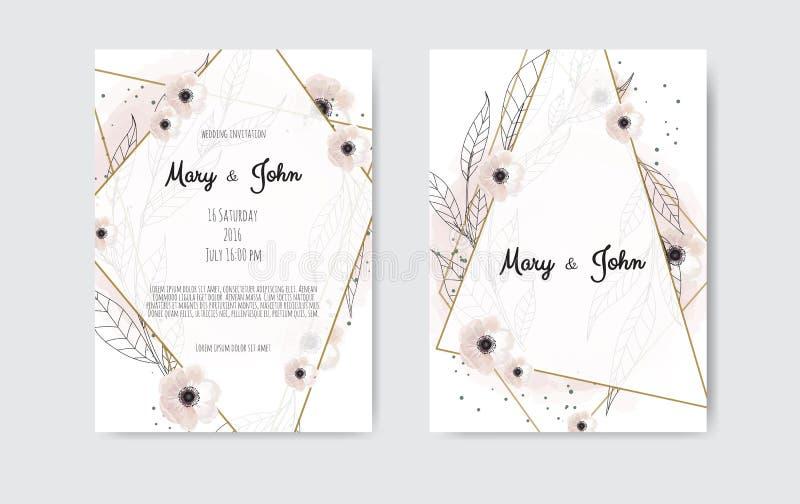在白色和黑背景的植物的婚礼邀请卡片模板设计,白色和桃红色花 库存例证