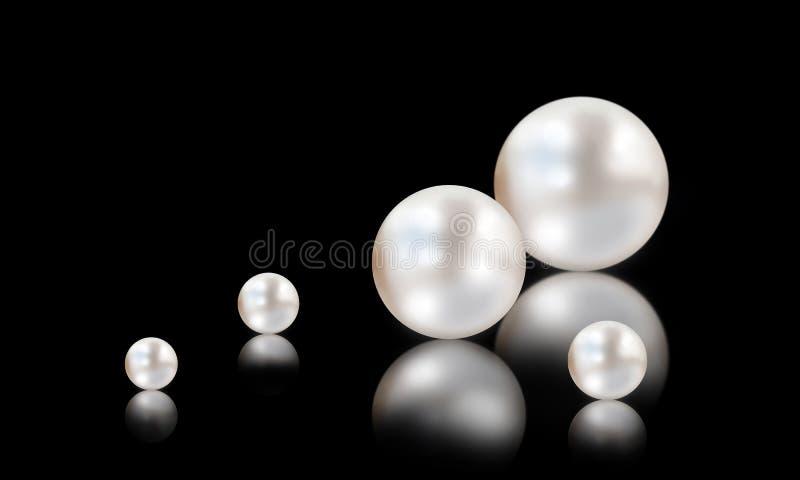 在白色和黑背景的许多小和大白色珍珠 向量例证