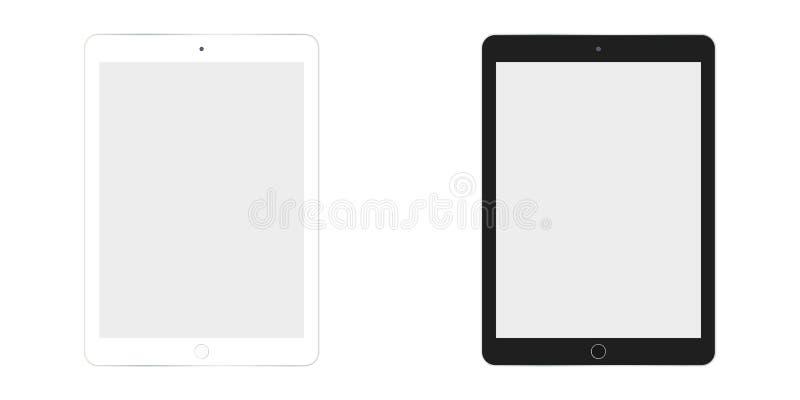 在白色和黑色传染媒介eps10的表Ipad 片剂平的样式 两片剂白色和黑集合 皇族释放例证