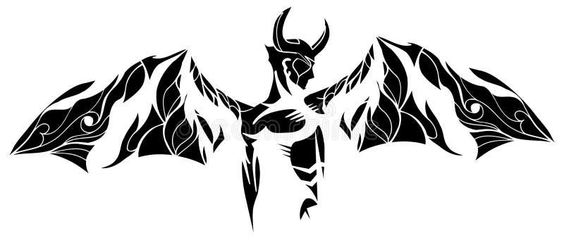 在白色和黑色的风格化恶魔纹身花刺被隔绝的