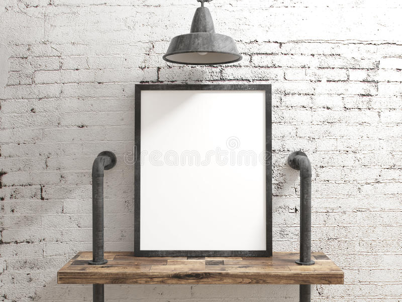 在白色土气工业墙壁上的空白的海报框架 免版税库存图片