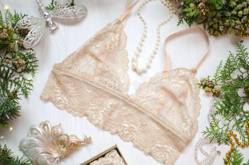在白色圣诞节背景的米黄鞋带胸罩 时尚通入 免版税库存照片