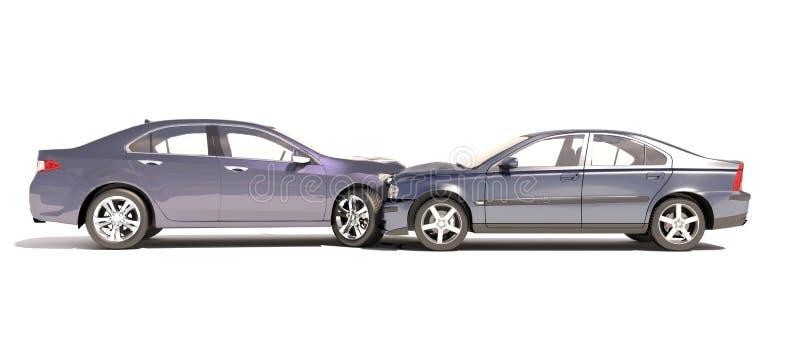 在白色在事故的两辆汽车隔绝的 库存例证