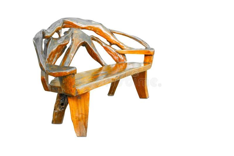 在白色在减速火箭的样式的木椅子隔绝的 免版税库存照片