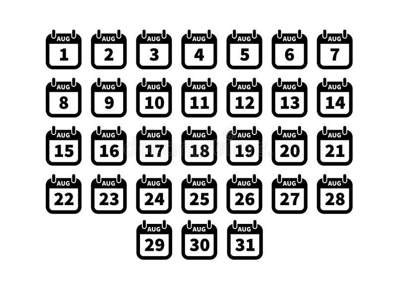 在白色在威严的简单的黑日历象隔绝的套  库存例证