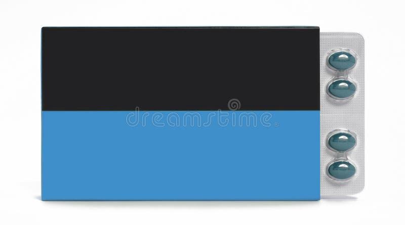 在白色在蓝色和黑口气的药片箱子隔绝的 库存照片