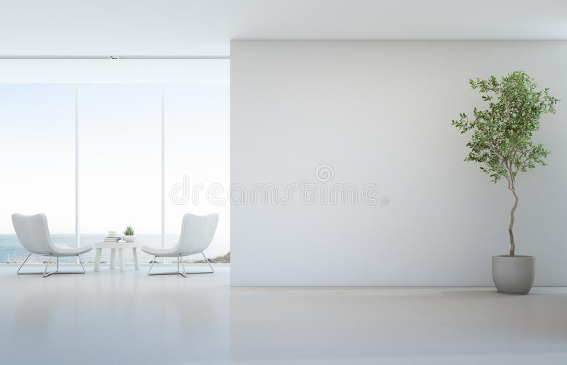 在白色地板上的室内植物有空的混凝土墙背景,休息室和咖啡桌在玻璃窗附近在海观看客厅 向量例证