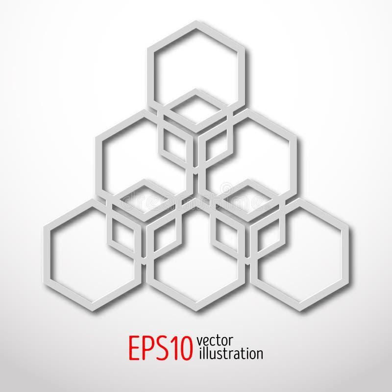 在白色塑料样式做的六角3d设计 荐骨的几何 奥秘神秘形状 抽象传染媒介艺术设计  皇族释放例证