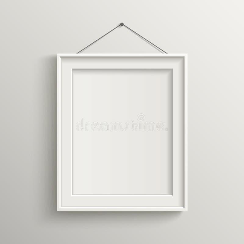 在白色墙壁上的空白的框架有阴影的 库存例证