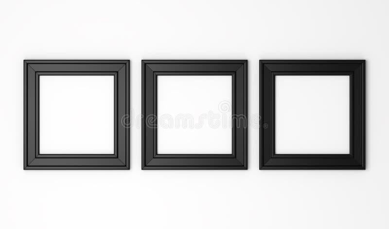 在白色墙壁上的空白的黑照片框架 皇族释放例证