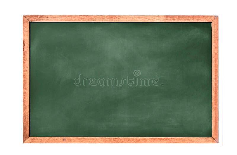 在白色墙壁上的空的绿色黑板纹理吊 从绿色委员会和白色背景的双幅字盘架 库存照片