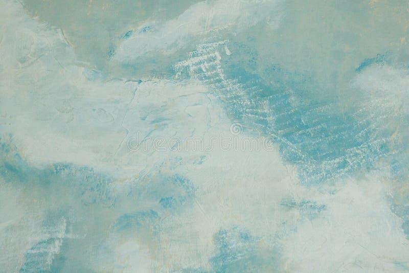 在白色墙壁绘的蓝色,抽象纹理背景上 免版税库存图片