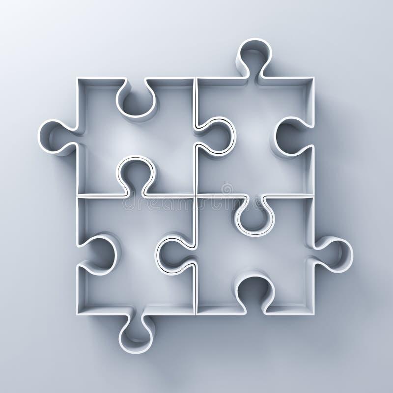 在白色墙壁背景的白色七巧板箱子与阴影 库存例证