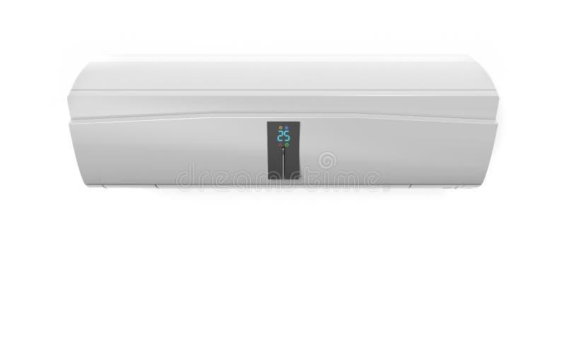 在白色墙壁3D翻译隔绝的雪白屏幕空调 向量例证