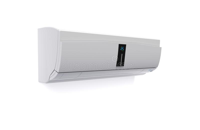 在白色墙壁3D翻译隔绝的雪白屏幕空调 库存例证