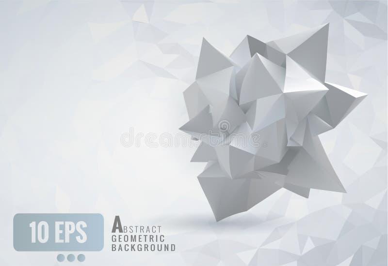 在白色多角形backg的抽象几何被弄皱的纸形状 向量例证