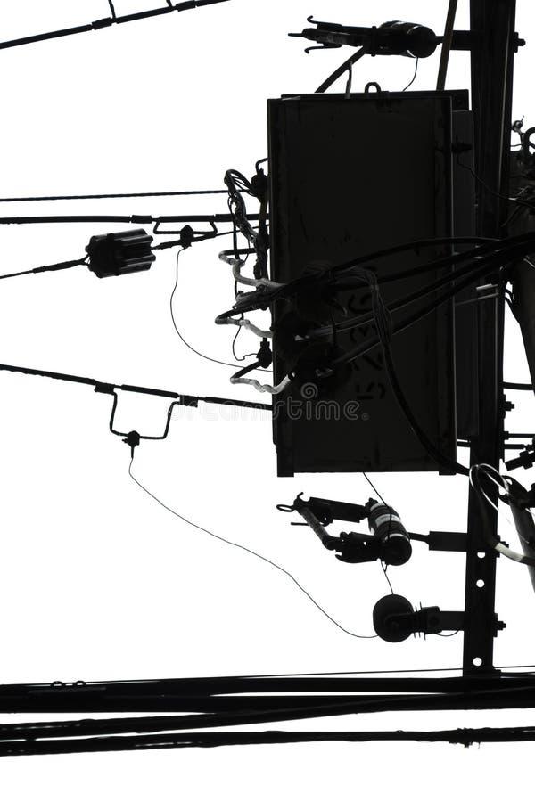 在白色天空摘要黑白最低纲领派的轻的缆绳设计的 免版税图库摄影