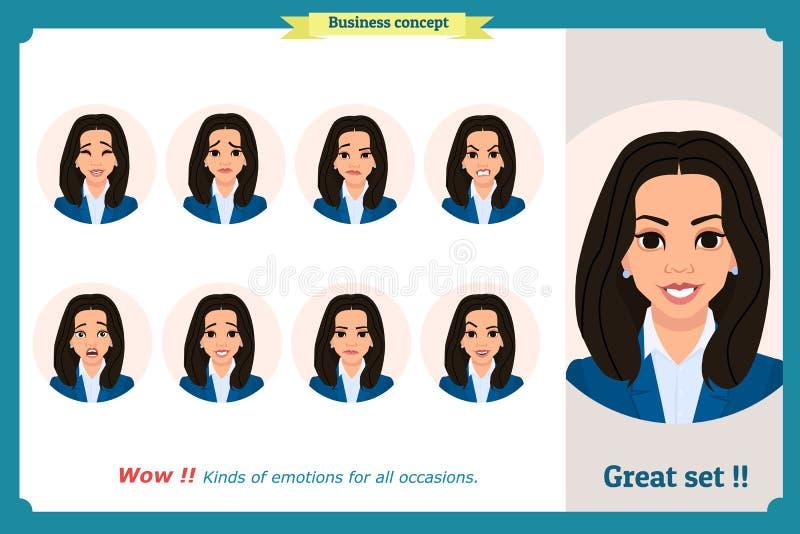 在白色妇女表示隔绝的套 平的设计 例证 导航面孔女孩,恼怒,哀伤,微笑 女实业家字符 皇族释放例证