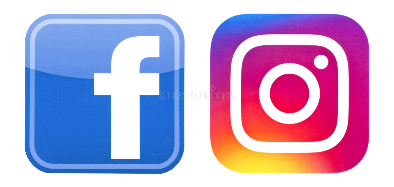 在白色安置的Facebook和Instagram商标 免版税图库摄影