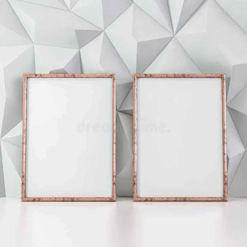 在白色容量背景- 3D的空的相框例证 向量例证