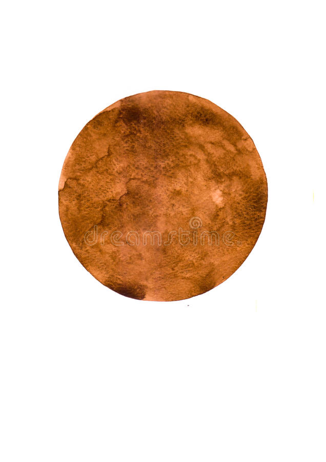 绘在白色帆布纸的水彩棕色圈子背景 库存照片