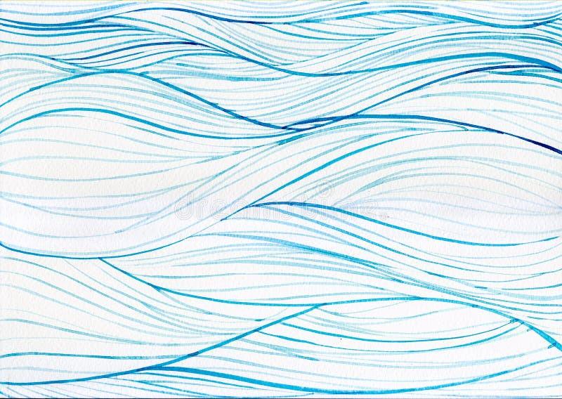在白色帆布纸的水彩绘画海洋海蓝色圈子背景 图库摄影