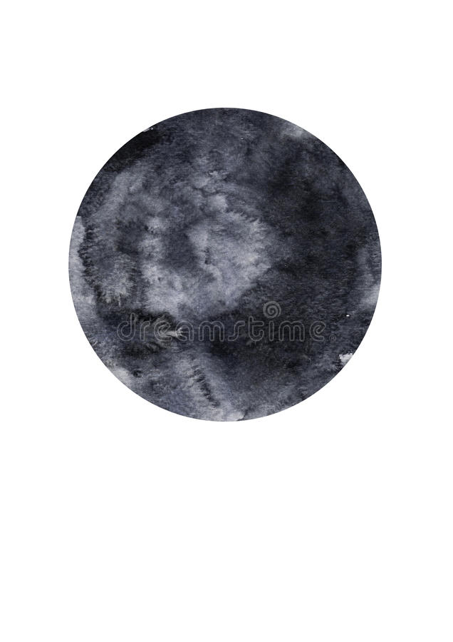 绘在白色帆布纸的水彩黑白圈子背景 免版税库存图片