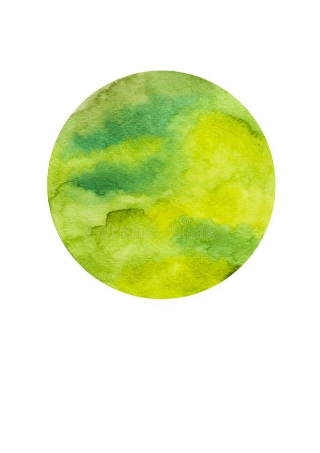绘在白色帆布纸的水彩绿色黄色圈子背景 免版税库存照片