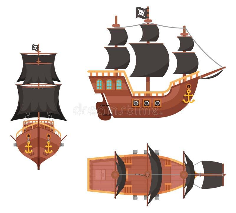 在白色平的设计传染媒介隔绝的木海盗海盗阻饶议事的议员海盗海狗帆船比赛象 向量例证