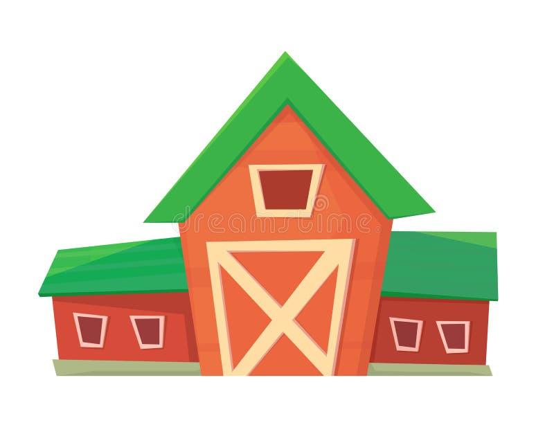 ?? 在白色或大农场隔绝的红色农厂谷仓 库存例证