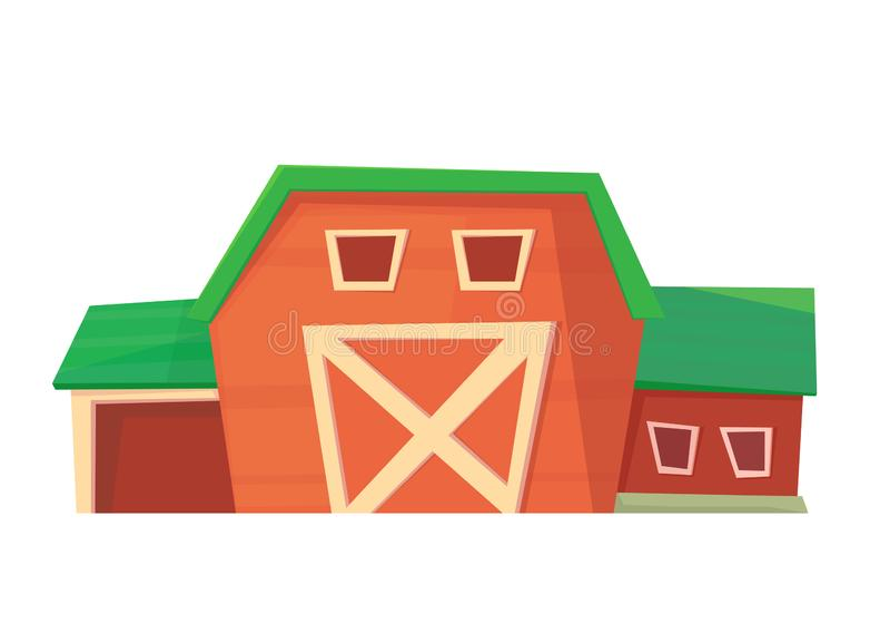 ?? 在白色或大农场隔绝的红色农厂谷仓 皇族释放例证