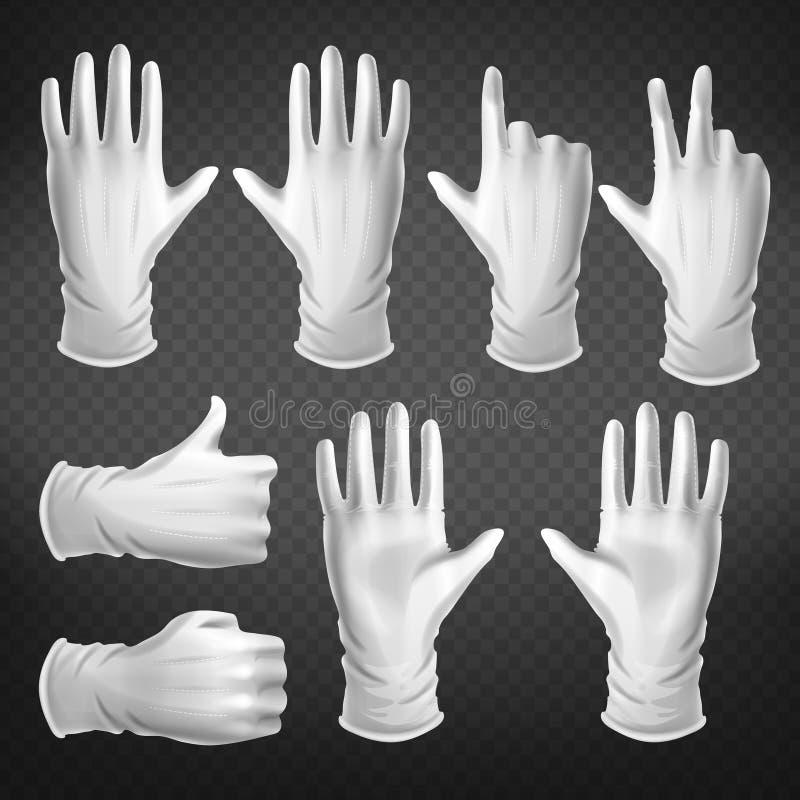在白色手套姿势穿戴的人的棕榈 皇族释放例证