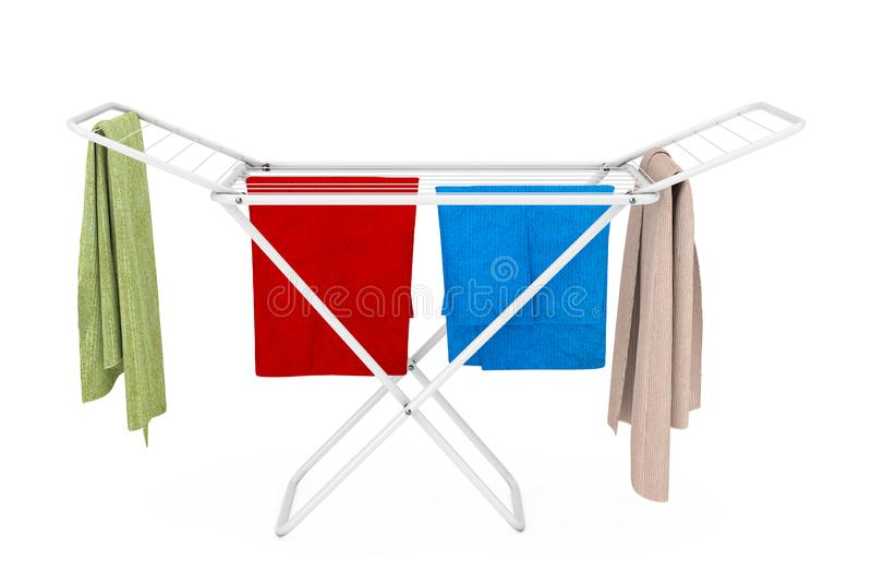在白色折叠的金属的衣裳给烘干机架穿衣 3d?? 皇族释放例证