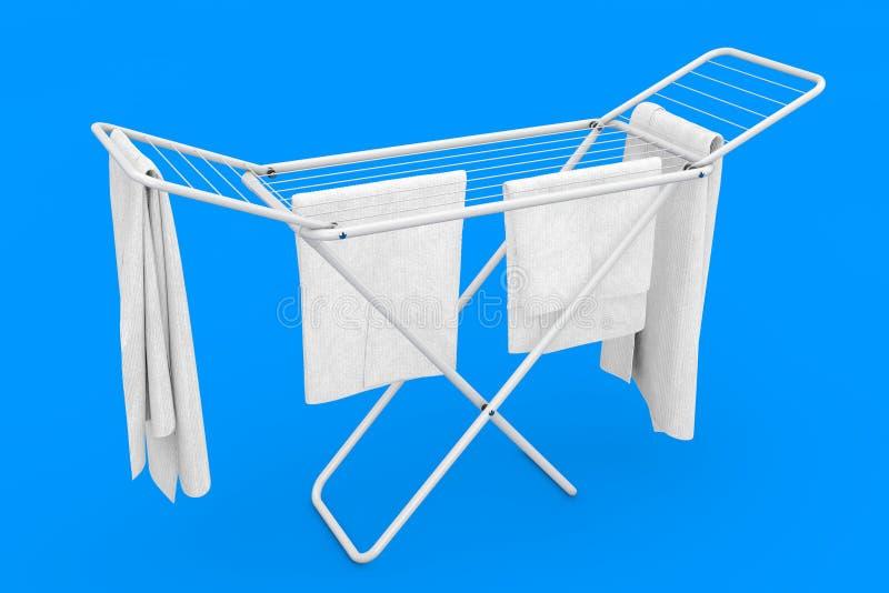 在白色折叠的金属的衣裳给烘干机架穿衣 3d?? 库存例证