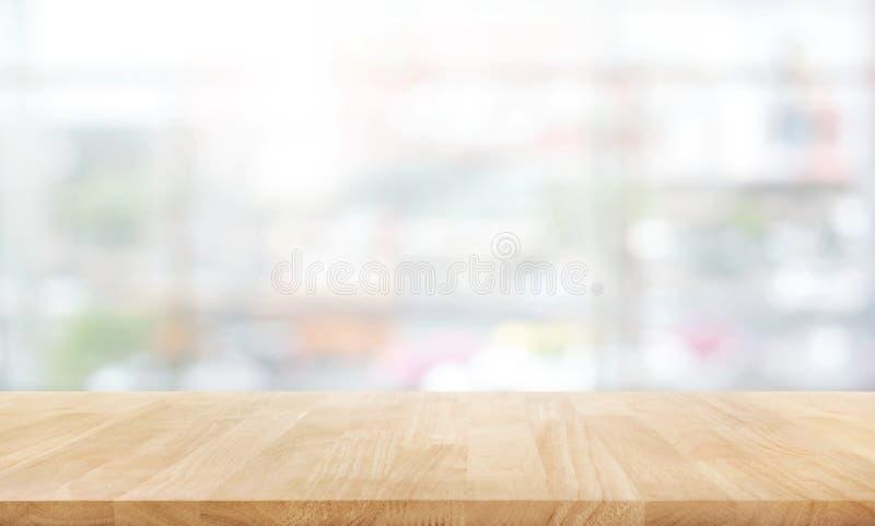 在白色抽象背景形式百货商店的木台式 免版税库存照片
