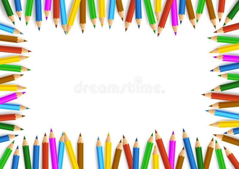 在白色拷贝空间附近被安排的色的铅笔 向量例证