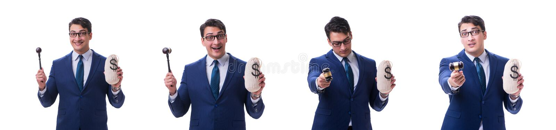在白色有惊堂木和富翁金钱坏的律师隔绝的 免版税图库摄影