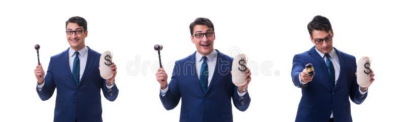 在白色有惊堂木和富翁金钱坏的律师隔绝的 图库摄影