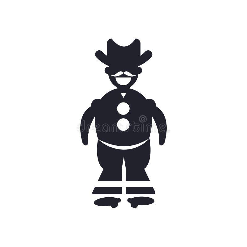 在白色有枪象传染媒介标志和标志的牛仔隔绝的 向量例证