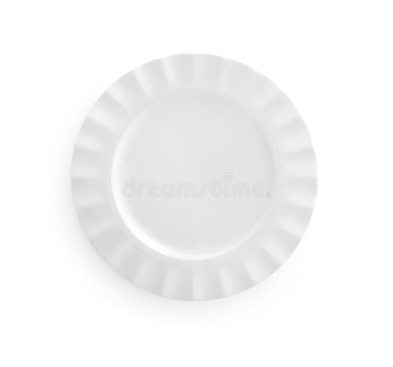 在白色有顶视图隔绝的空的板材 免版税库存图片