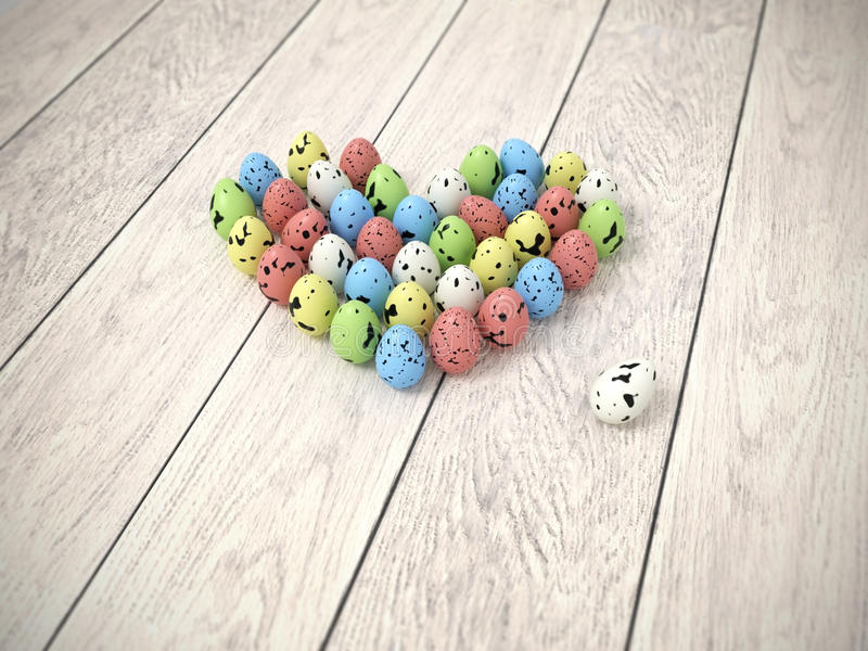 在白色木地板上的五颜六色的复活节彩蛋心脏 库存例证