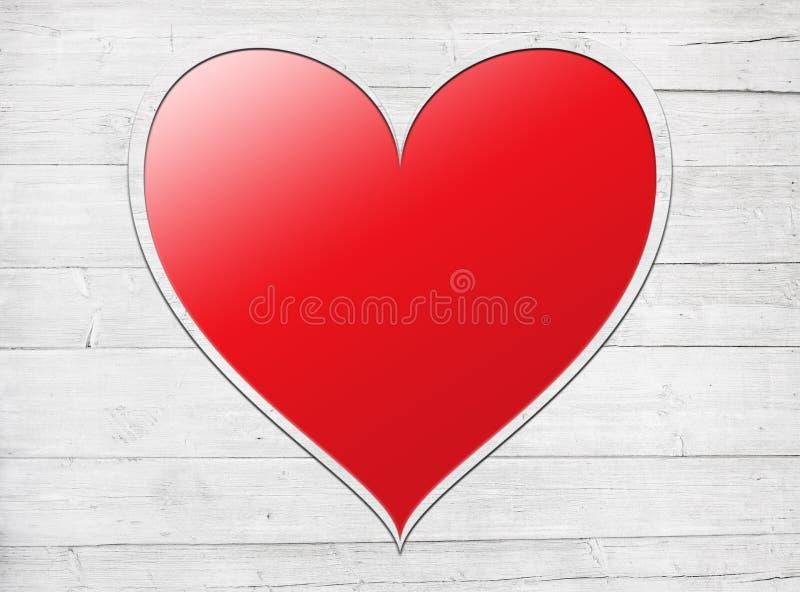 在白色木墙壁安置的红色心脏,板条 免版税库存图片