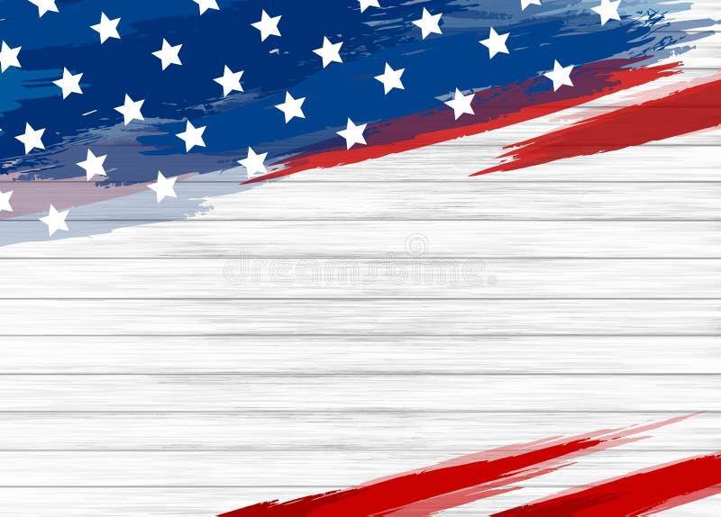 在白色木背景传染媒介例证的美国国旗油漆 向量例证